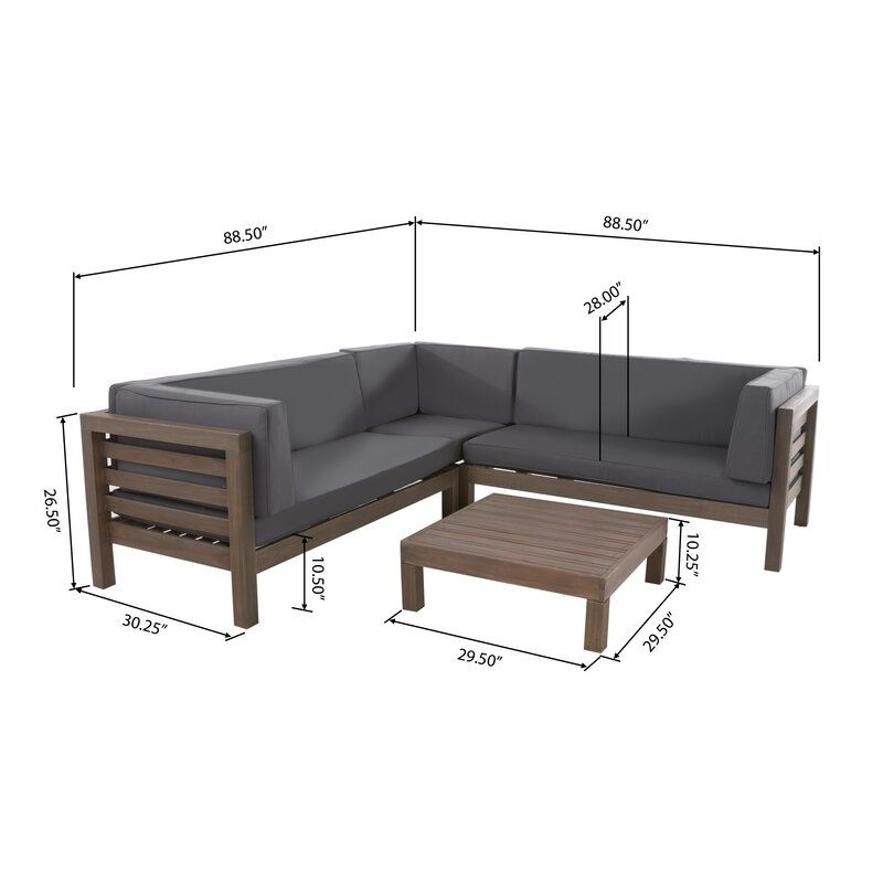 Seaham 4 Piece Sectional Set With Cushions Reviews Allmodern Sofa Set Furniture Outdoor Sectional Sofa