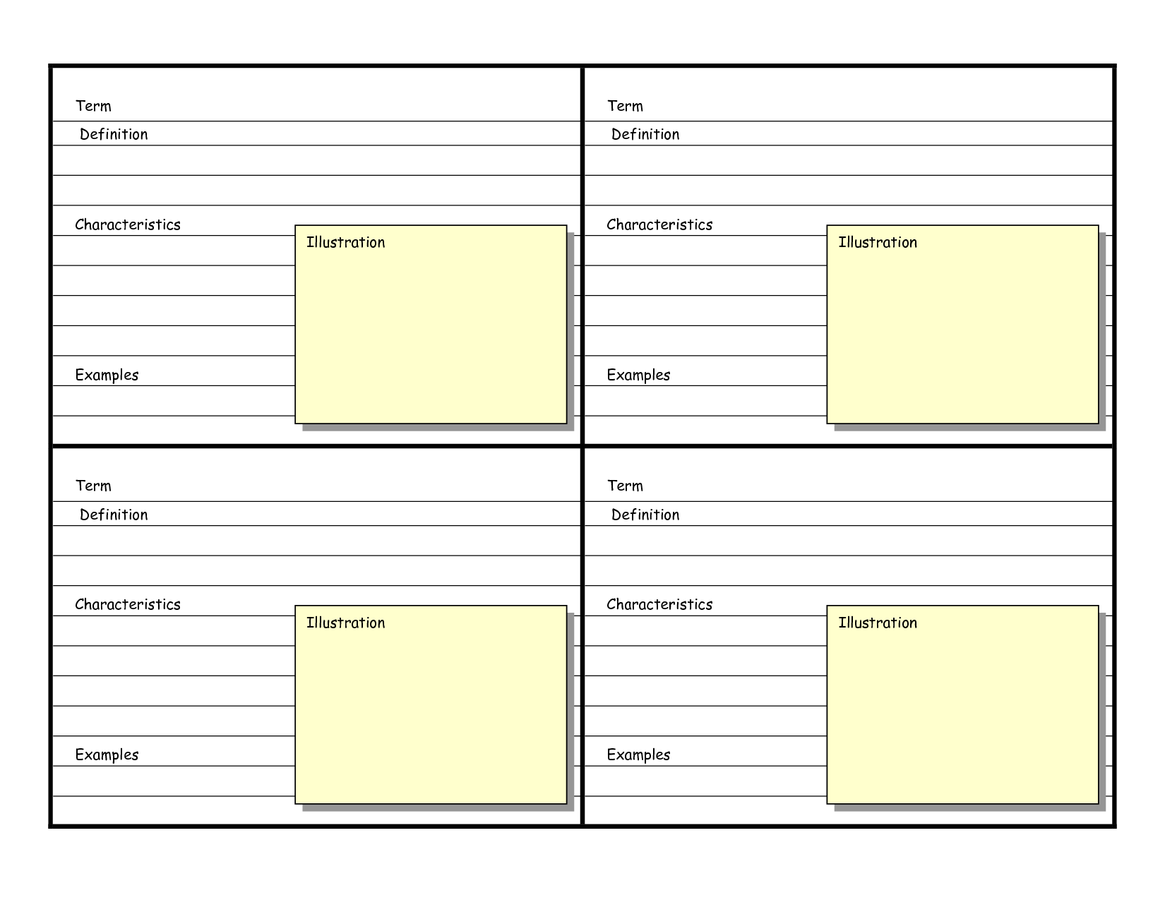 Elegant Blank Vocabulary Card Template