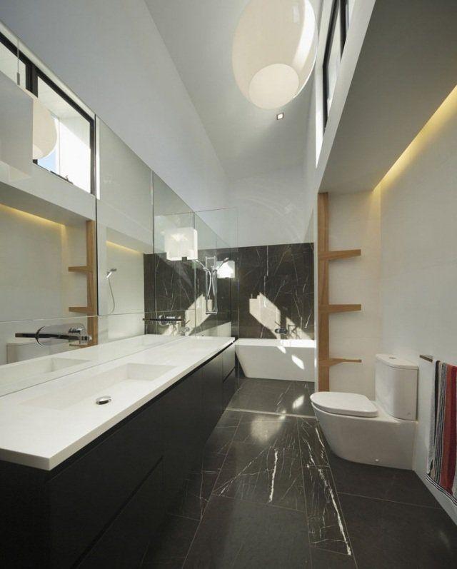 améublement-exclusif-salle-bain-lavabo-rectangulaire-blanc-céramique - salle de bain design douche italienne