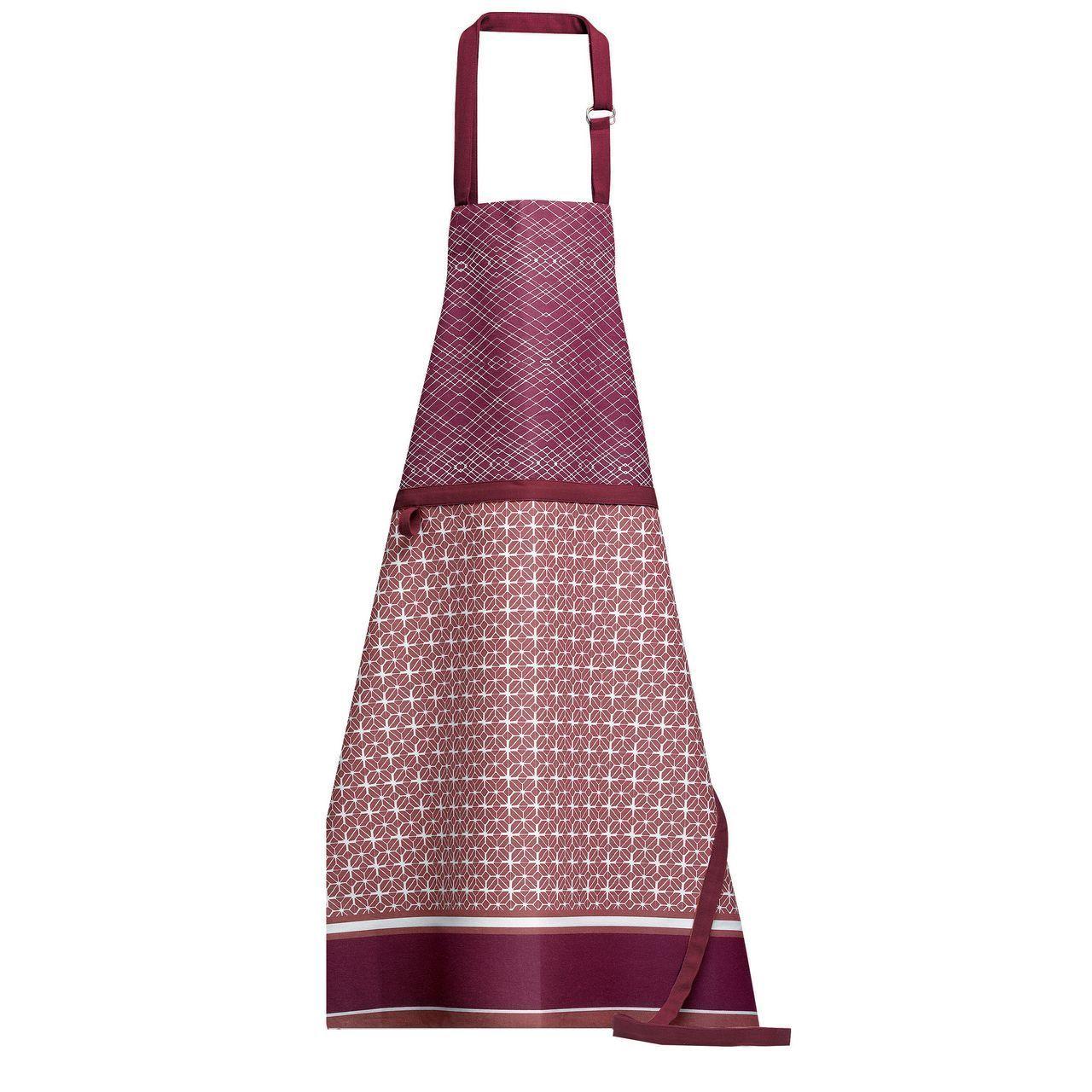 Nappe Lie De Vin tablier de cuisine cedra coton motifs géométriques rouge lie