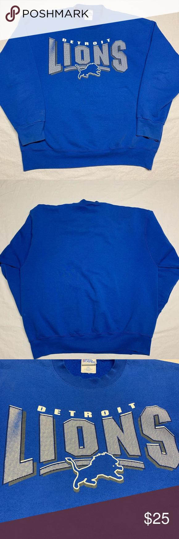 Sold Vintage 90s Detroit Lions Sweatshirt Clothes Design Detroit Lions Sweatshirt Fashion Design