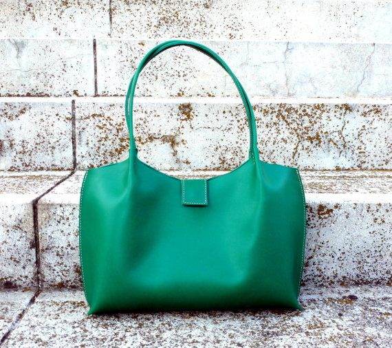 Emerald green leather tote bag leather shopper leather by BogaBag ...