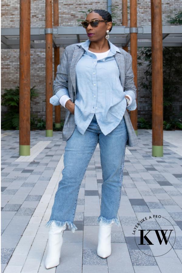 5e0bd8e359e9 Kaye Wright style, layer winter tops, plaid blazer, white boots, blue  button down shirt women, boxy blazer, boxy plaid blazer, layer top with  blazer,