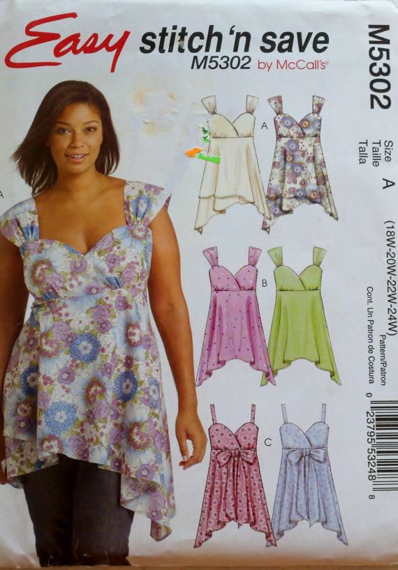 7a010129a1ced6 Plus size baby doll halter tops Mccalls Patterns, Peplum, Women's Tops, ...