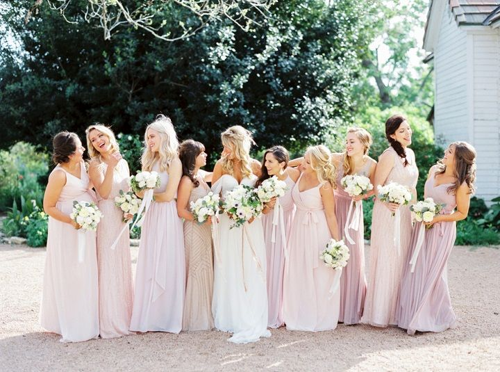 Mix and Matched Blush bridesmaid dresses + blush wedding bouquets | fabmood.com #weddinginspiration #blush #blushbridesmaiddresses