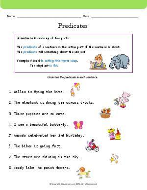 Worksheet | Predicates | Underline the predicate in each