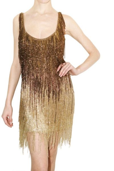 Trend  gilded fringe Roberto Cavalli Gold Beaded Fringe Dress ... 336c25025b
