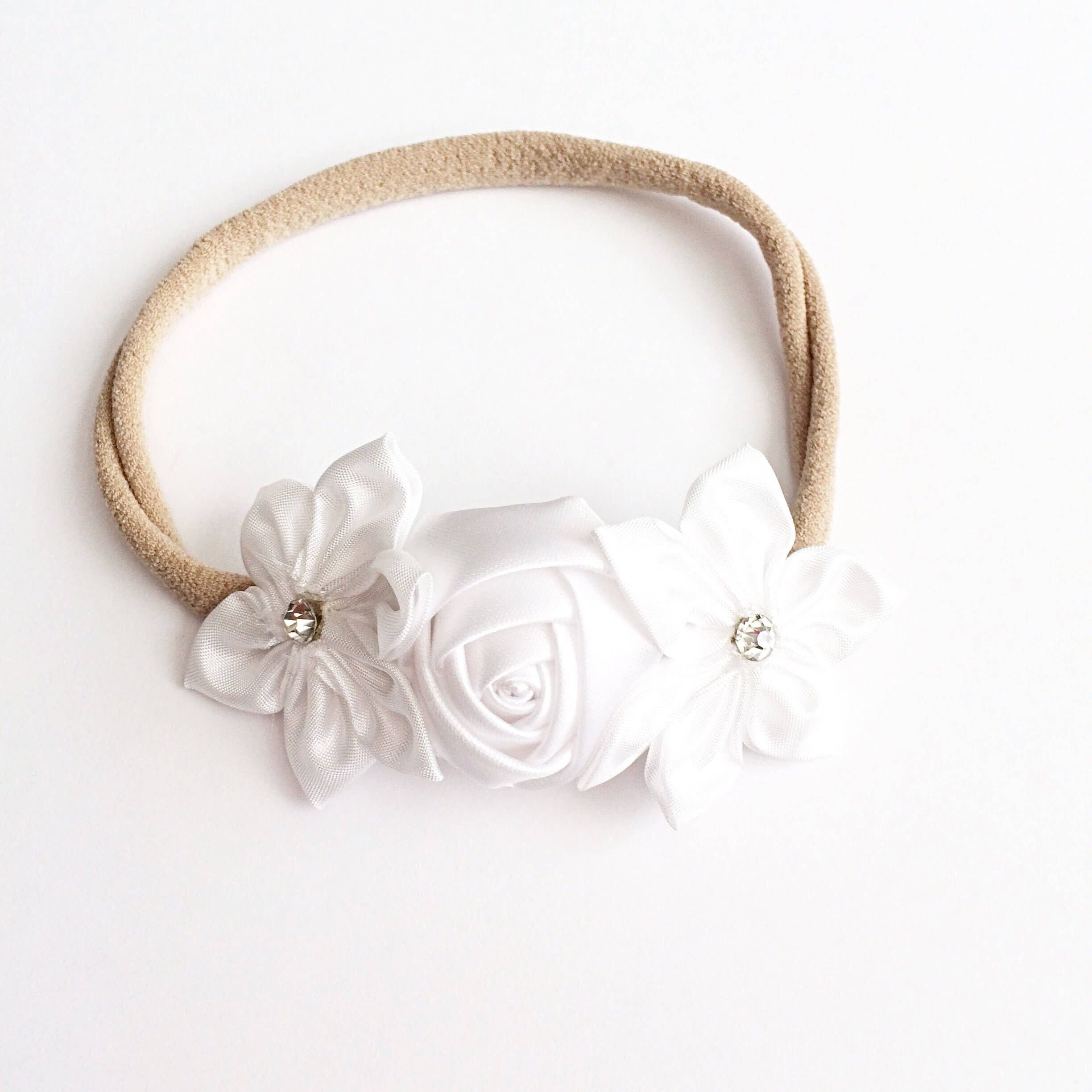 White Flower Headband Or Flower Crown On Nylon Headband With Jewel