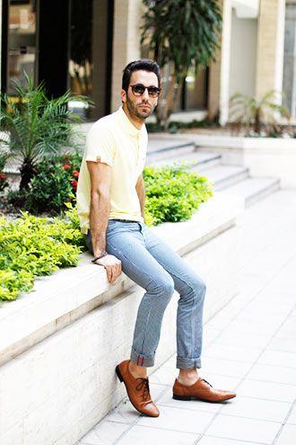 黄色のポロシャツ コーディネート(メンズ)
