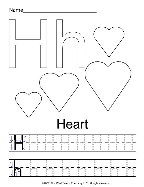 The letter H trace hearts – Letter a Preschool Worksheets