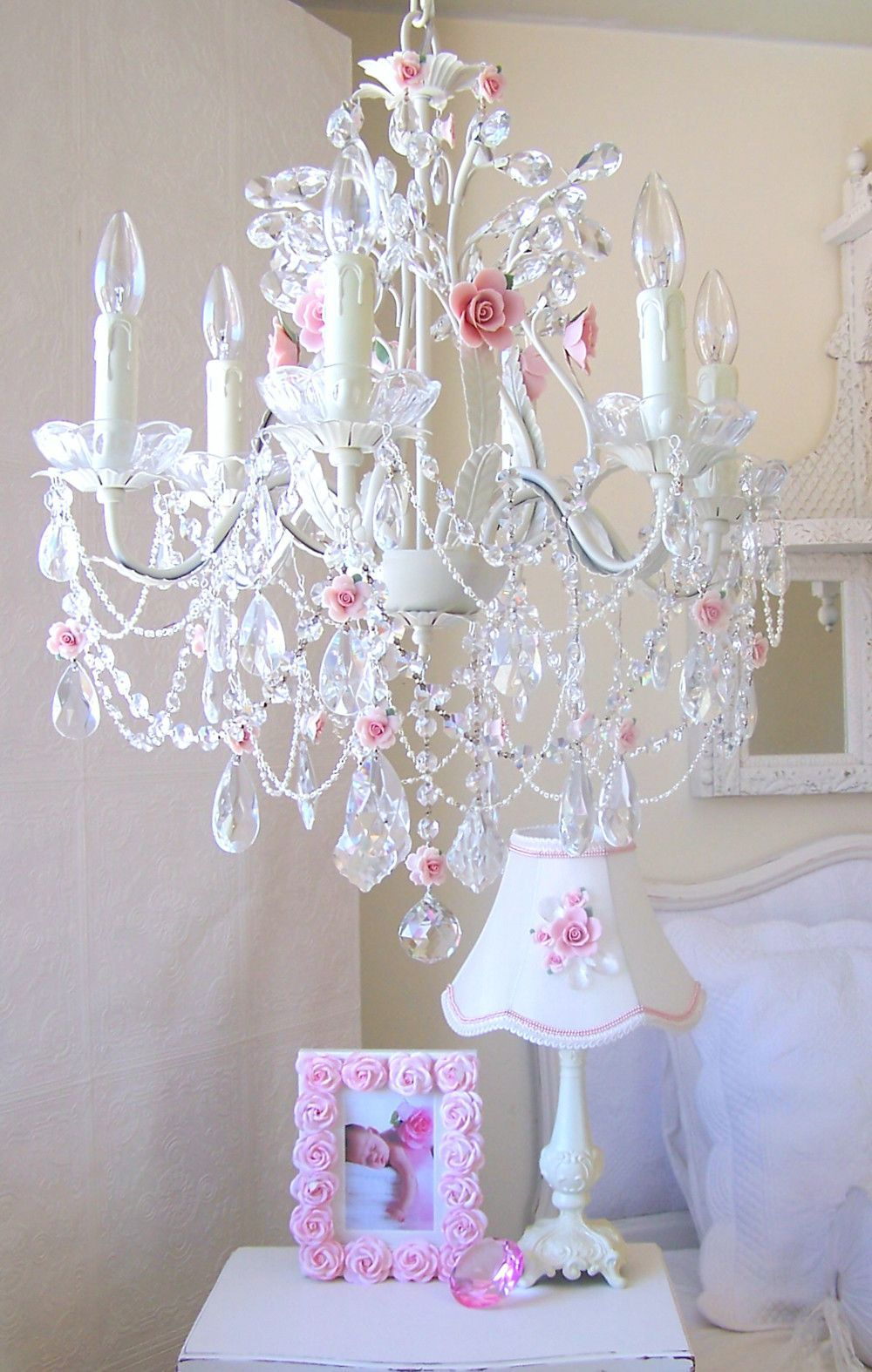 5 Light Antique White Chandelier With Pink Rose Shades With