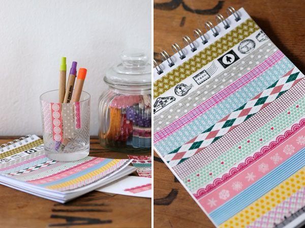 Versier je notitieboekjes en schriften met #washitape - Buy #maskingtape at www.vanmariel.nl