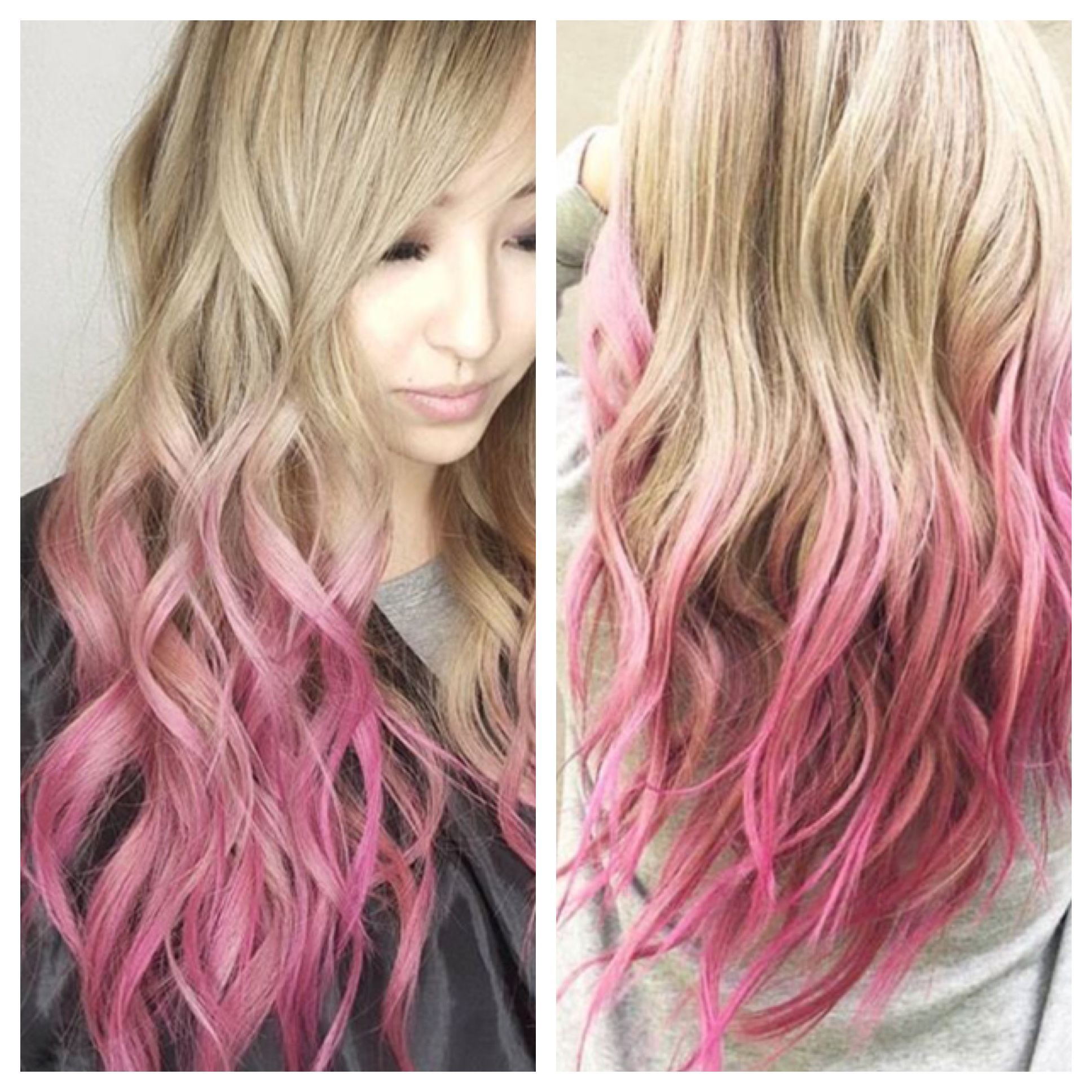 Dip Dye Pink Ends Ombre Pink With Blonde Color Bleed Ends There Are So Pink Blonde Hair Dyed Blonde Hair Blonde Dip Dye