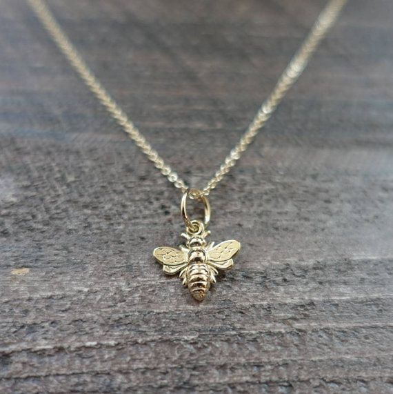 Tiny Bee Necklace Solid Gold Bee Charm 14k 18k Rose Etsy Bee Necklace Gold Bee Jewelry