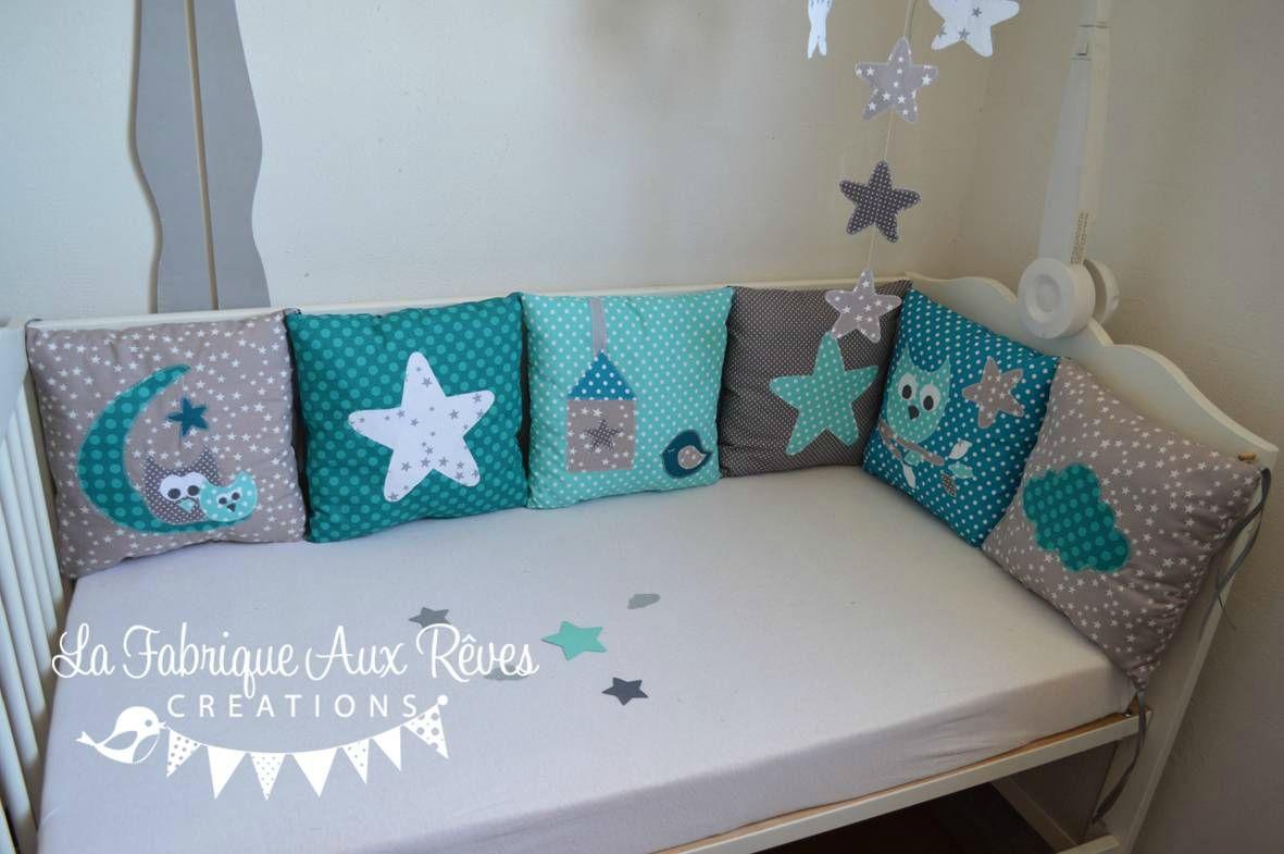 Linge lit tour lit complet coussin et décoration chambre bébé