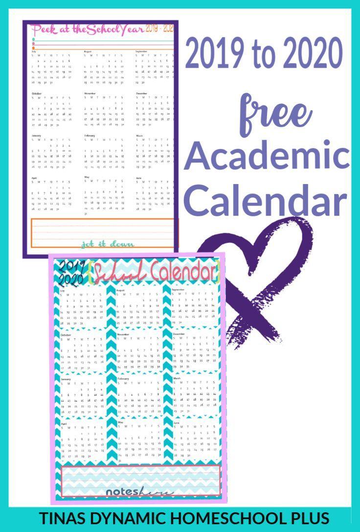 Free 20192020 Academic Calendars Homeschool Planner