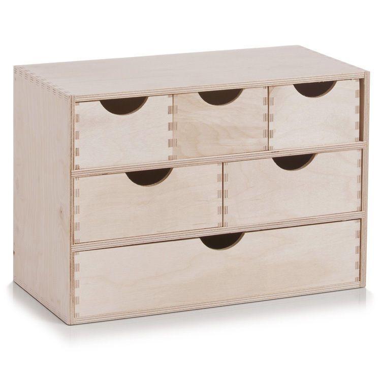 Details Zu 6Er Schubladenelement Holz Unbehandelt Schubladen-Regal