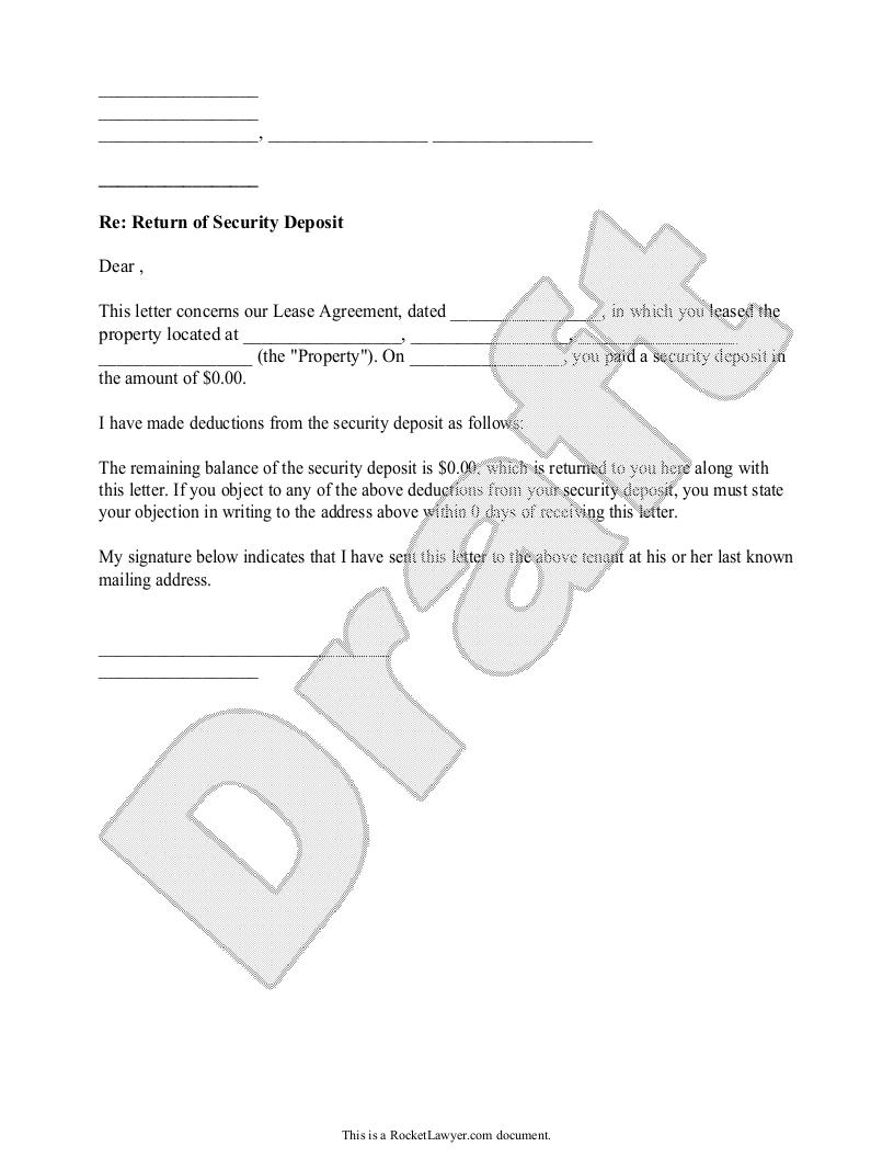 Sample Security Deposit Return Letter Form Template