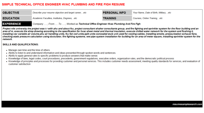 Plumbing Resume Technical Office Engineer Hvac Plumbing And Fire Figh Cv Resume