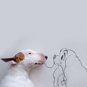 Der Brasilianische Illustrator Rafael Mantesso Macht Wunderbare Hunde Kunst Mit Seinem Bullterrier Jimmy Choo Susseste Haustiere Tierbilder Und Niedliche Hunde