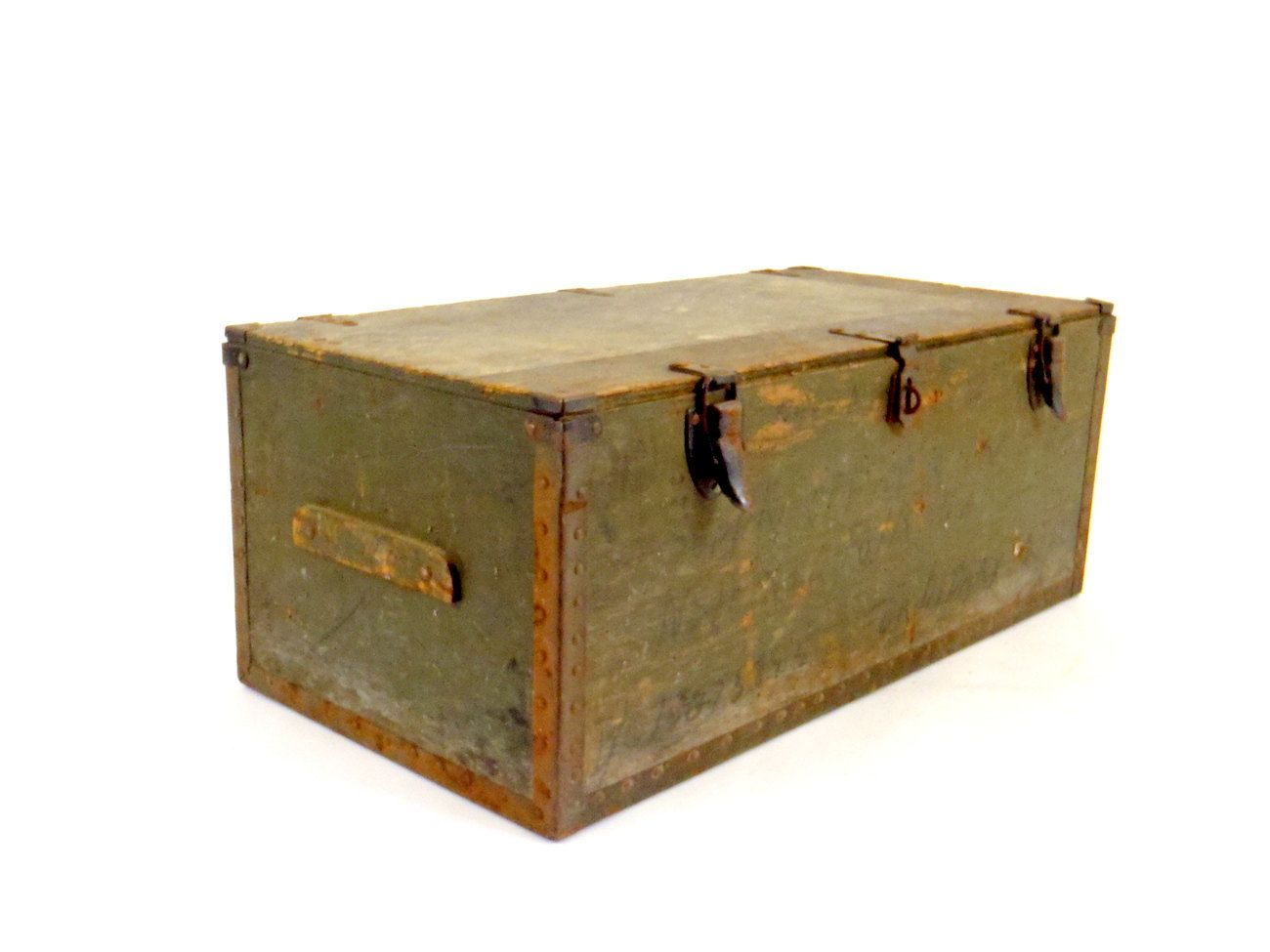 Antique Trunk Vintage Chest USA Military Foot Locker WW2 1942. via ...