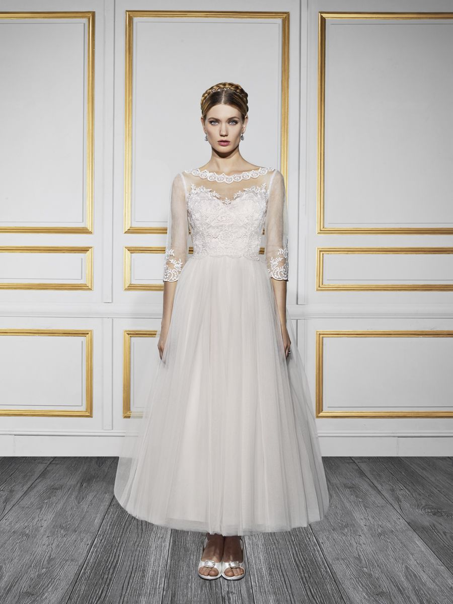 Style T728 Lace wedding dress with sleeves, Tea length