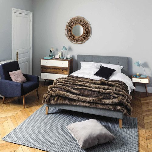 Bett aus Holz und Stoff,grau, 160x200 Table de chevet