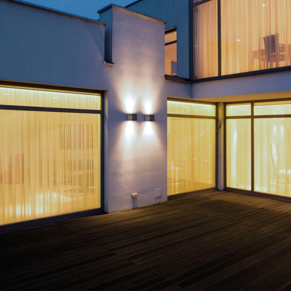 Quadratische Wandleuchte In Anthrazit Mit 2 X 10 W Led Zur Energiesparenden Indirekten Beleuchtung Im Aussenbereich Up Aussenlampe Design Leuchten Beleuchtung
