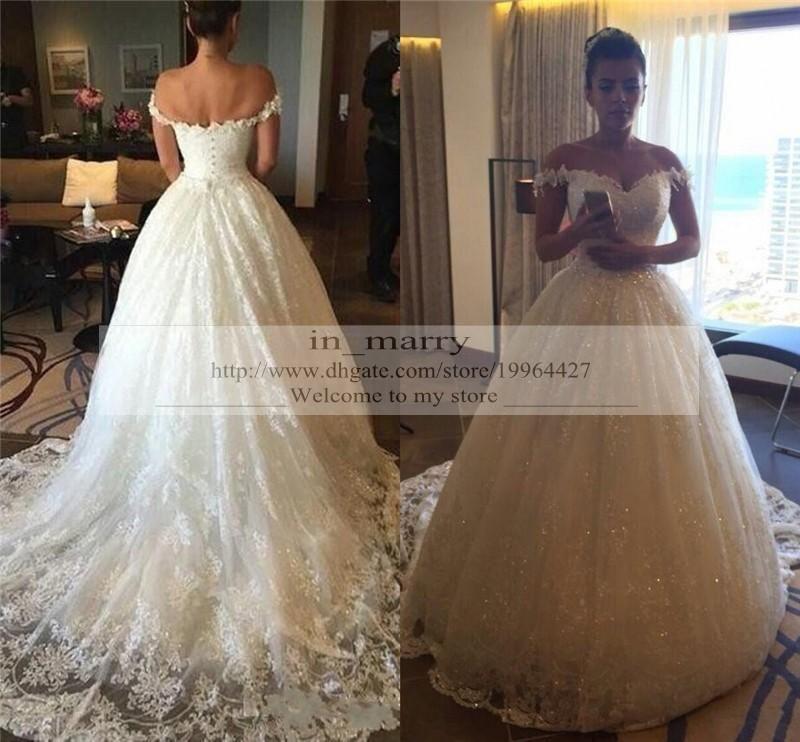 Bling Off Shoulder Vintage Lace Country Wedding Dresses
