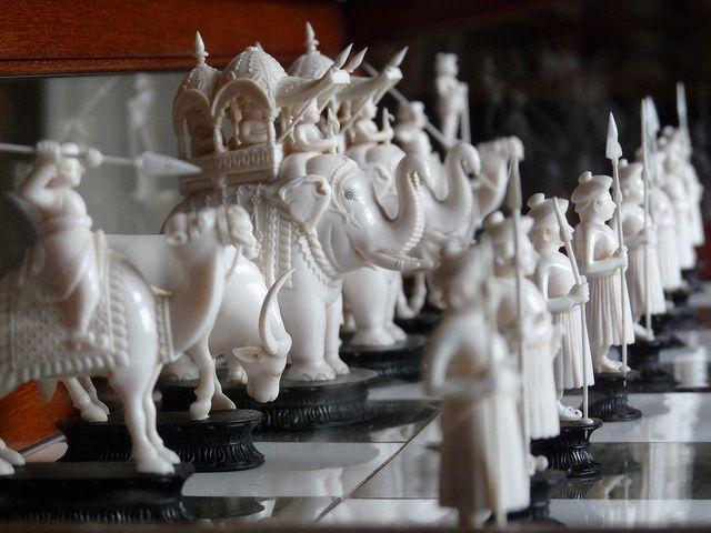 Indian ivory chess set at Kedleston Hall