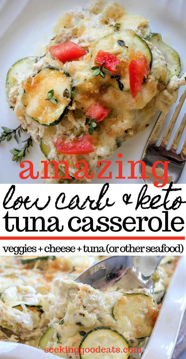 Low Carb Tuna Casserole (Keto Seafood Casserole) Low Carb Tuna Casserole (Keto Seafood Casserole), is made delicious with cauliflower and zucchini, a creamy herb sauce, tuna, and layered with cheese. Sure to become a new family favorite, this low carb seafood casserole is so easy to make it's perfect for a busy weeknight meal. Make this healthy recipe tonight!