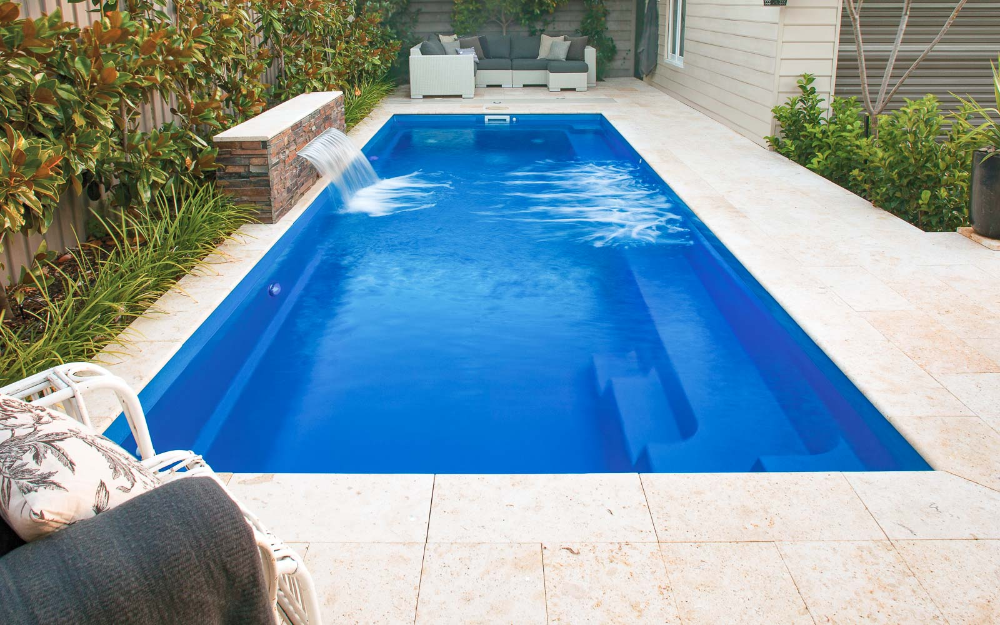 The Harmony Stylish Compact Swim Pool Leisure Pools Usa Leisure Pools Backyard Pool Landscaping Fiberglass Swimming Pools