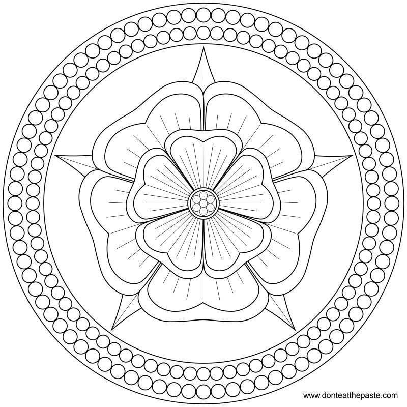 Rose And Pearls Mandala To Color Or Embroider JPG Transparent PNG Format