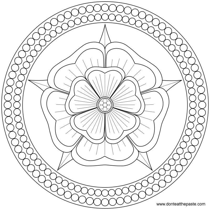 Rose and Pearls Mandala | Mandala para colorear, Mandalas y Colorear