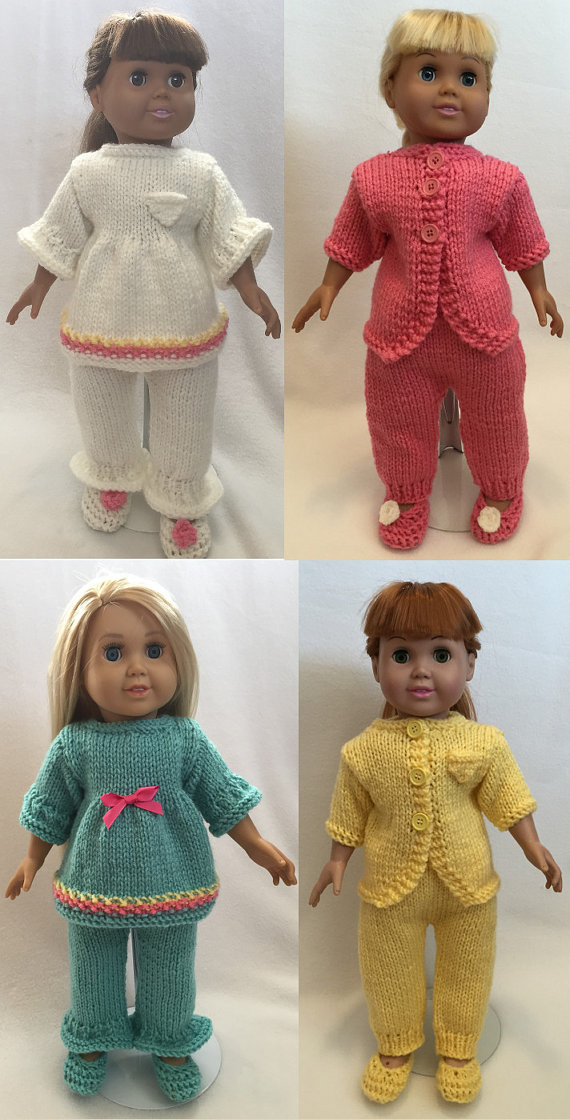 Cozy Winter Pajamas Knitting Patterns For 18 Inch Dolls Immediate