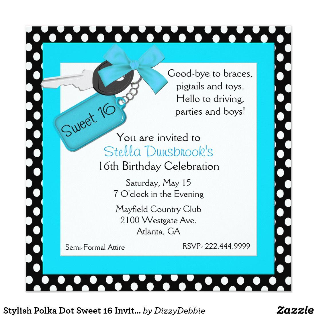 Stylish Polka Dot Sweet 16 Invitation | { Happy Birthday ...