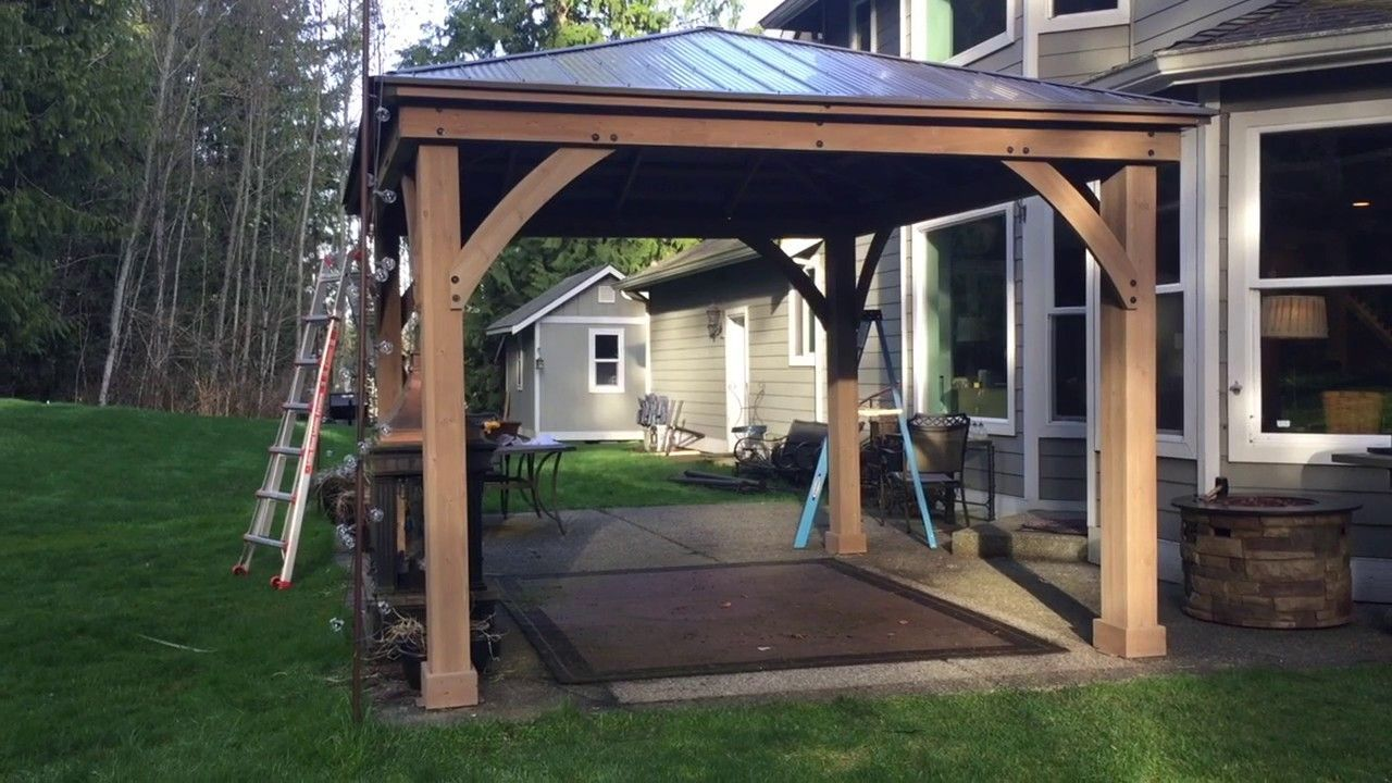 Pt 3 Costco Yardistry 12x14 Wood Gazebo Final Assembly Patio Gazebo Gazebo Backyard Gazebo