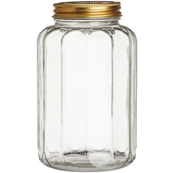H&M Glass jar with a lid (17 BRL) ❤ liked on Polyvore featuring home, kitchen & dining, food storage containers, fillers, casa, furniture, gold, clear glass, glass food storage containers and lidded jars