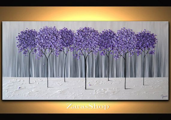 Large Modern Home Decor Purple Lavender Abstract Tree Painting Black White Canvas Wall Art Home Office Wa Abstract Tree Painting Abstract Tree Tree Painting