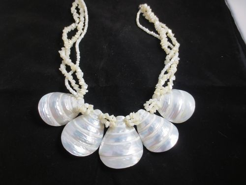 MOTHER OF PEARL NECKLACE UNIQUE CHUNKY THREE STRANDS Makes a Statement