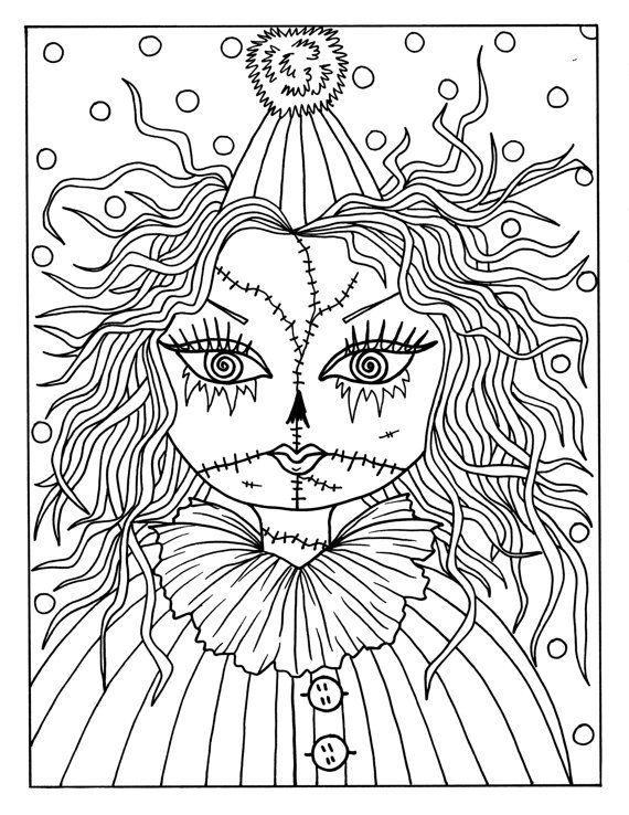 5 pages of Goulish Girls Halloween Coloring Pages Instant Downloads ...