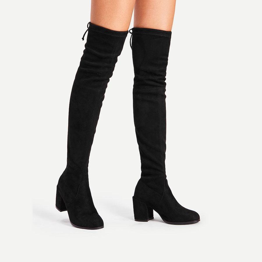 Knee Heeled Boots   Block heel boots