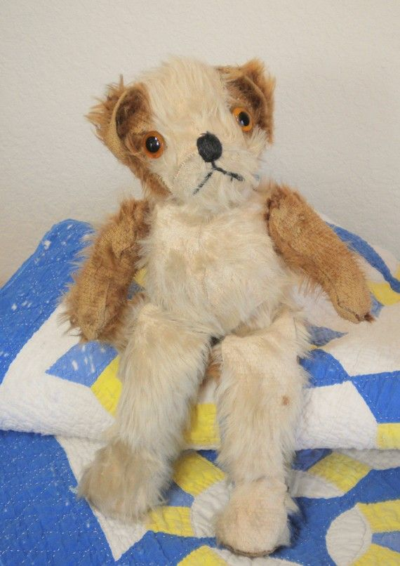 Vintage Antique Stuffed Mohair Bear with Floppy Legs.  Great old bear has glass eyes.  Worn from years of love.  Super gift idea