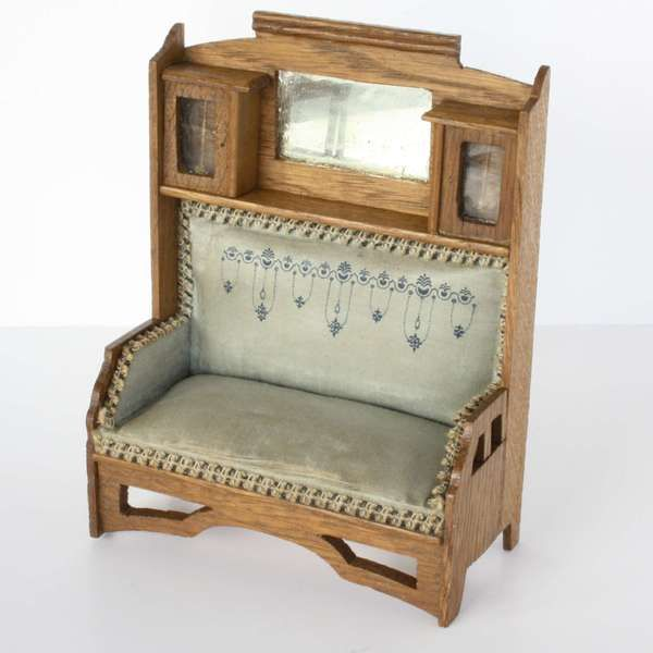 antique dollhouse | Antique Dollhouse Parlor set with blue silk upholstery - by ...
