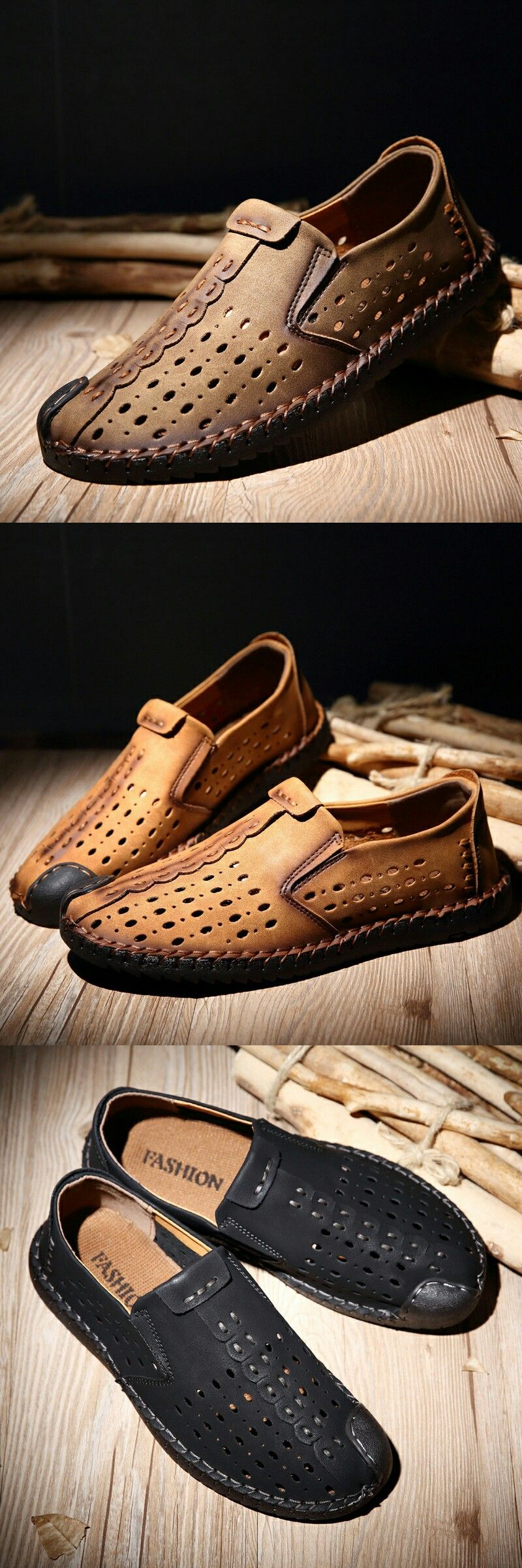 2117980855b0 Amazon Men s Leather Summer Breathable Shoes Walking Slip On Loafers Casual  Hiking Shoes