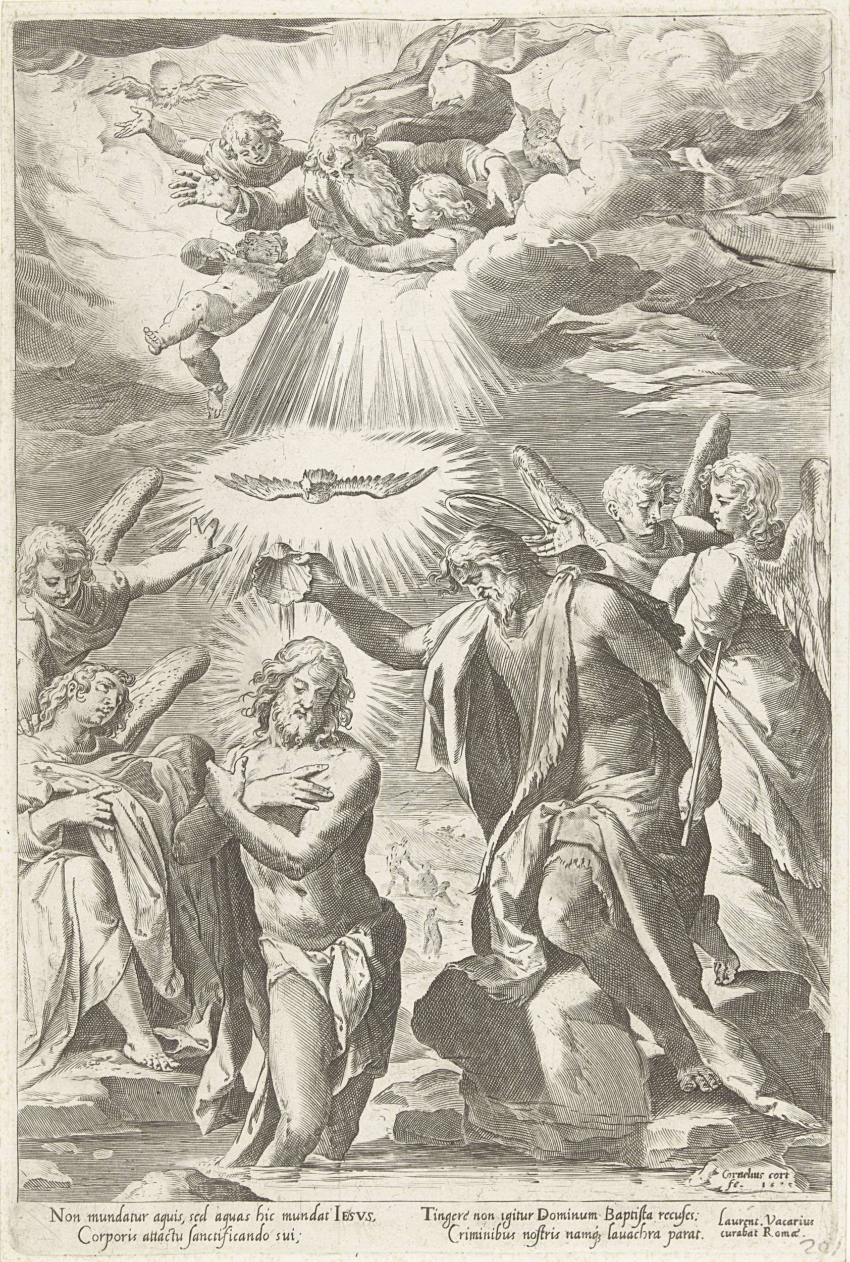 Cornelis Cort | Doop van Christus in de Jordaan, Cornelis Cort, Francesco Salviati, Laurentius Vacarius, after 1575 | Christus staat met zijn voeten in het water van de rivier, de handen gevouwen voor de borst. Johannes de Doper giet water over zijn hoofd. Boven hem de H. Geest in de gedaante van een duif en God als oude man, met engeltjes in een lichtgevende wolk. Vier engelen kijken toe.
