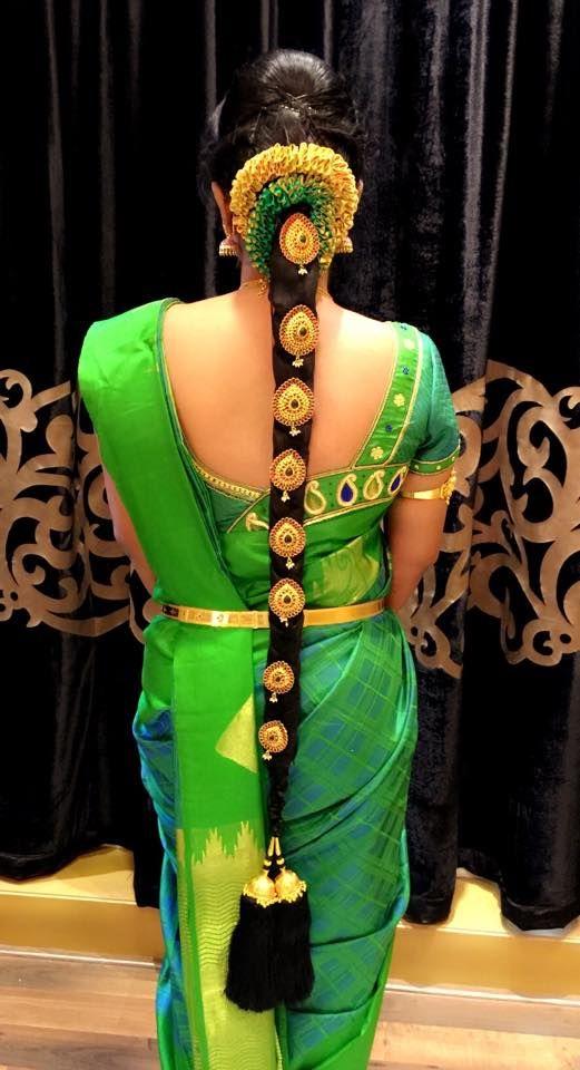 South Indian Bride Temple Jewelry Jhumkis Green Silk Kanchipuram Sari B Indian Bridal Hairstyles South Indian Bride Hairstyle Bridal Hairstyle Indian Wedding