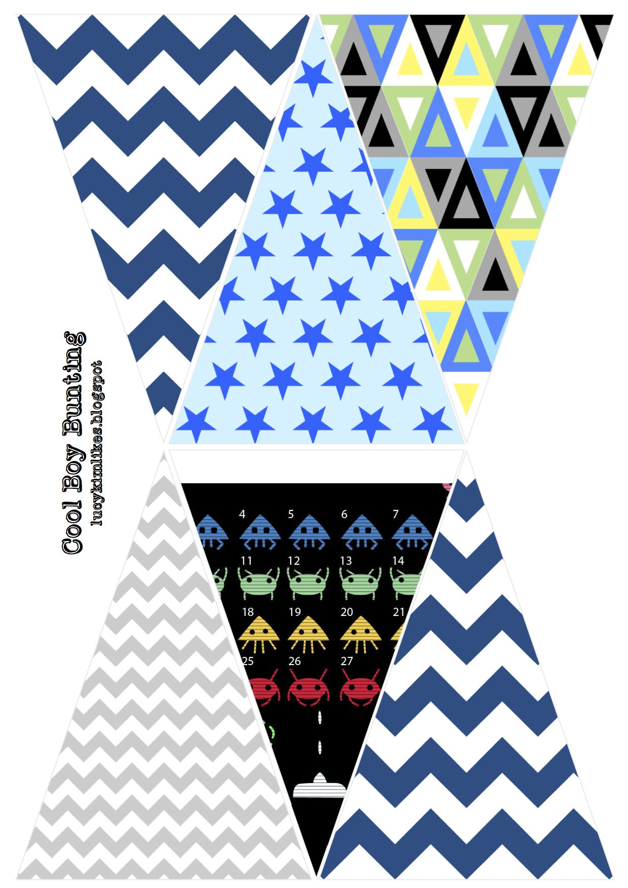 Cool Boy Bunting patterns - free printable | // s k y l a n d e r s ...