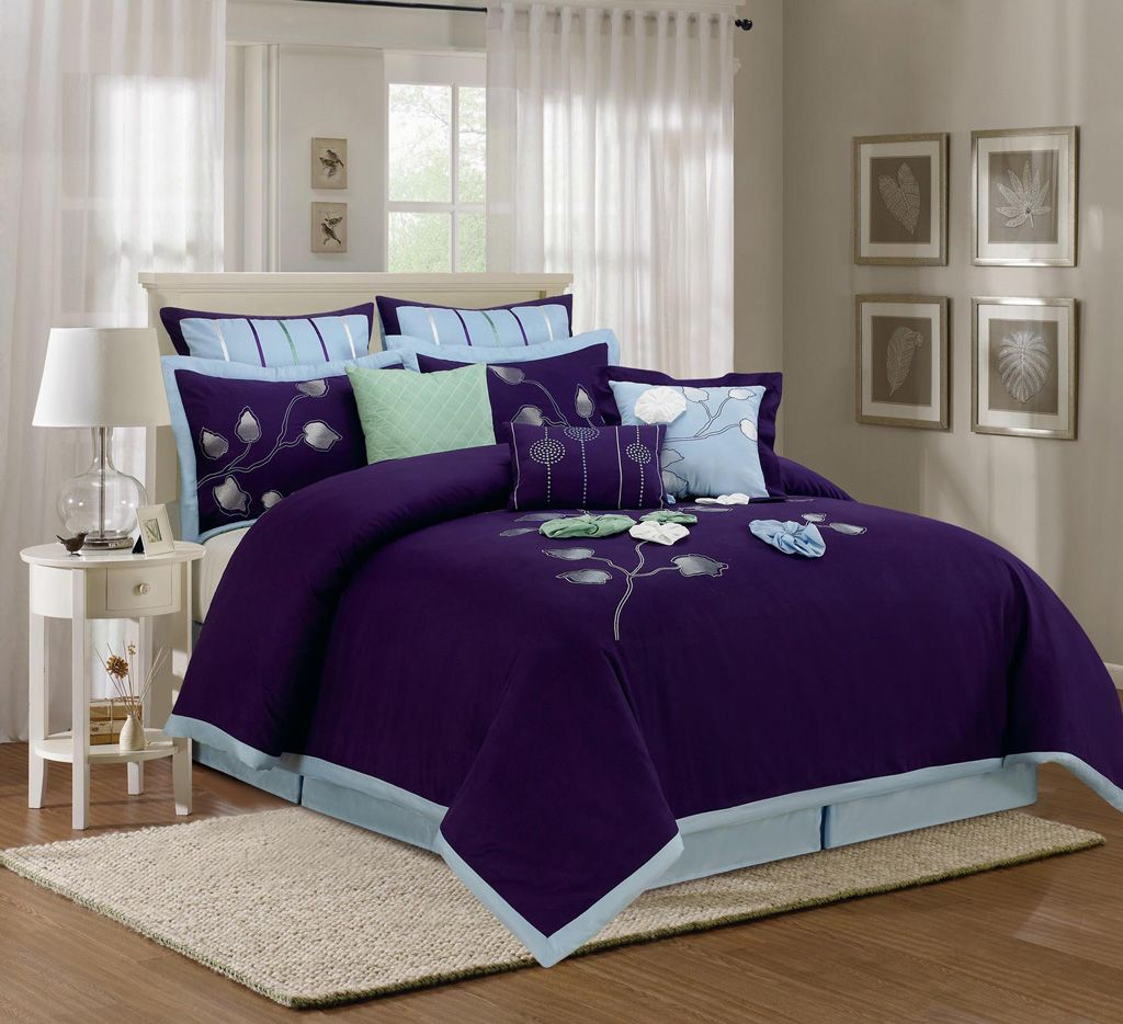 Royal blue bedding queen - Blue Queen Comforter Sets Piece Queen Salzer Blue Comforter Set