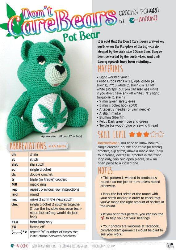 PDF PATTERN : Don't Care Bear amigurumi plush - marijuana crochet pattern - Weed Carebear plushie crochet pattern - crochet bear amigurumi